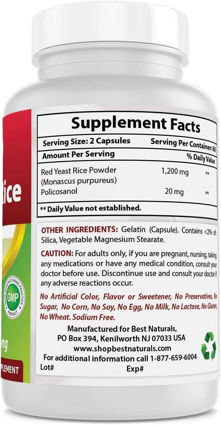 Red Yeast Rice 600 mg with Policosanol 10 mg 120 Capsules by Best Naturals: Health & Personal Care