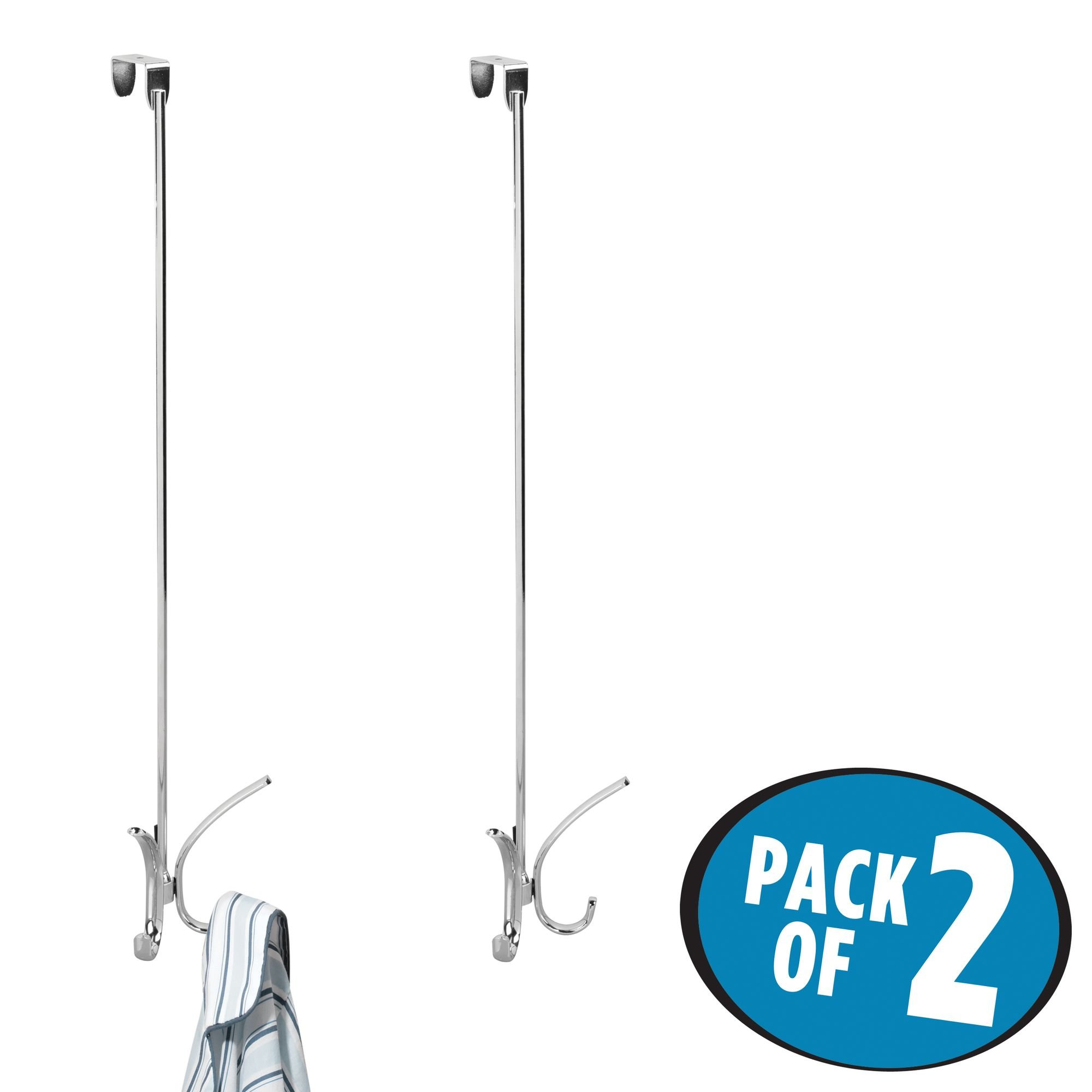 mDesign Extra-Long Over Door Hook Rack - Storage Organizer with 4 Hooks for Coats, Hoodies, Hats, Scarves, Purses, Leashes, Bath Towels & Robes - 24'' Quad Design, Pack of 2, Durable Steel, Chrome