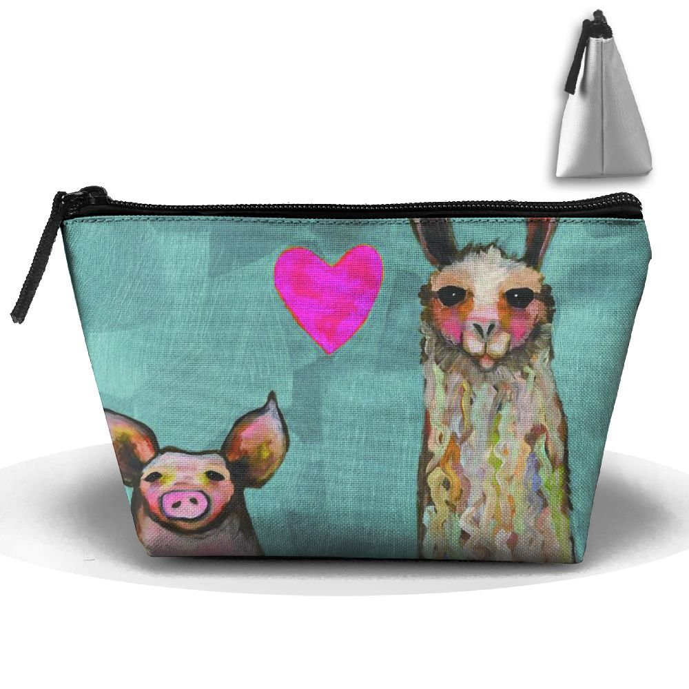 RobotDayUpUP Llama Loves Pig Art Womens Travel Cosmetic Bag Portable Toiletry Brush Storage Large Capacity Pen Pencil Bags Accessories Sewing Kit Pouch Makeup Carry Case