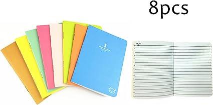 Y & Y Star Pack de 8 Steno Libros Memo Cute Mini portátil, 88 mm x 125 mm, Papel de color blanco, varios, fundas para 20 hojas por libro: Amazon.es: Oficina y papelería