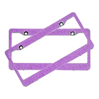 BLVD-LPF Purple Crystal Rhinestone License Plate ABS Frame - Set of 2 Frames: Automotive