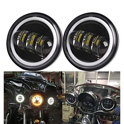 Athiry 1 Pair Black 4-1/2 4.5 Inch Round Led Fog Lights With White DRL Halo Ring For Road King Night Train Motorcycles Auxiliary Driving Passing Lights: Automotive