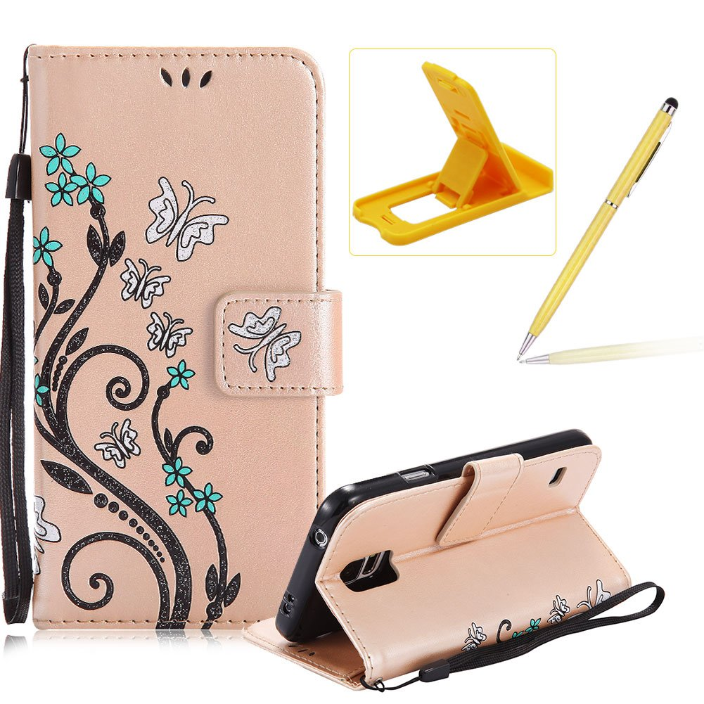 Strap Case for Samsung Galaxy S6, Smart Leather Cover for Samsung Galaxy S6, Herzzer Stylish Butterfly Flower Design Wallet Folio Case Full Body PU Leather Protective Stand Cover with Inner Soft Silicone Shell for Samsung Galaxy S6 + 1 x Free Black Cellpho