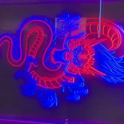 Amazon Com Advpro Chinese Dragon Room Display Dual Color Led Neon Sign Blue Yellow 8 5 X 12 St6s23 I3225 By Home Kitchen