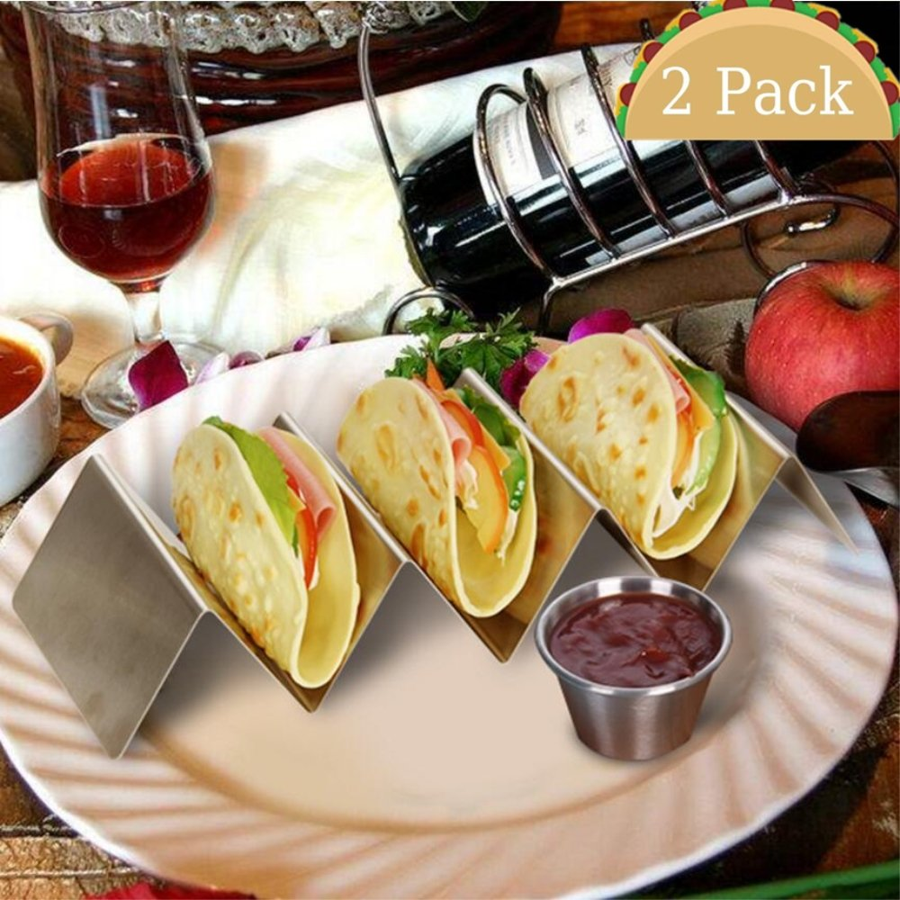 Taco Holder, Coffee4u Stainless Steel Taco Holder Stand Taco Truck Tray Style, Rack Holds 3 - 4 Tacos or Tortillas, in Dishwasher, Oven, and Grill Safe, For Restaurant & Home Use, 2 Pack