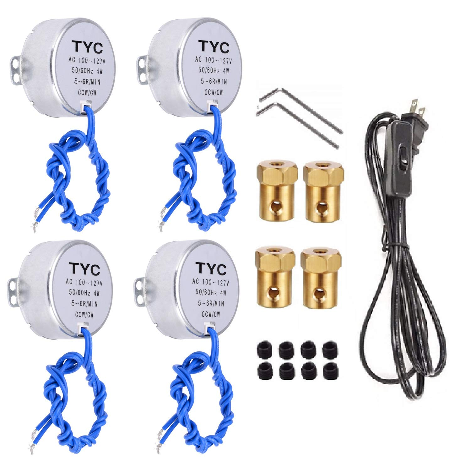 4PCS Synchronous Synchron Motor Electric Turntable Motor with 7mm Flexible Coupling Connector/6ft Power Cord Switch Plug,50/60Hz AC100~127V 4W CCW/CW for Crafting,Cup Turner,Cuptisserie(5-6R)
