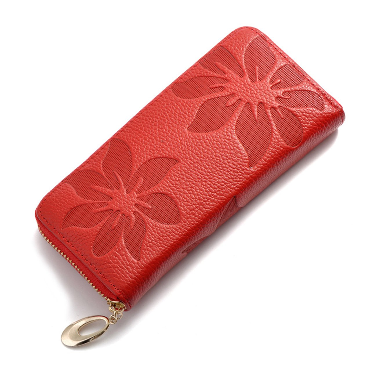 Red Wallet for Women,Genuine Leather Womens Wallet Credit Cards Phone Holder