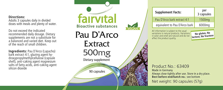 fairvital - 90 cápsulas vegetarianas de pau de arco/lapacho - 500 mg: Amazon.es: Salud y cuidado personal