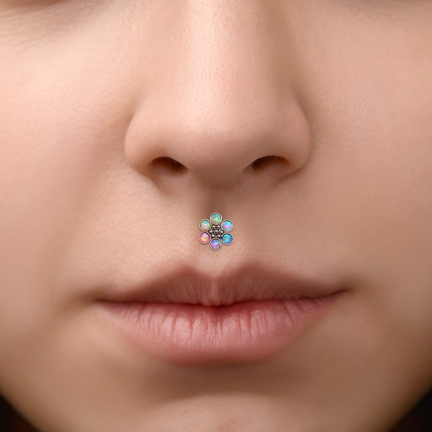 Lip Jewelry with Opal Medusa Labret Jewelry Labret Surgical Steel Monroe Lip Ring