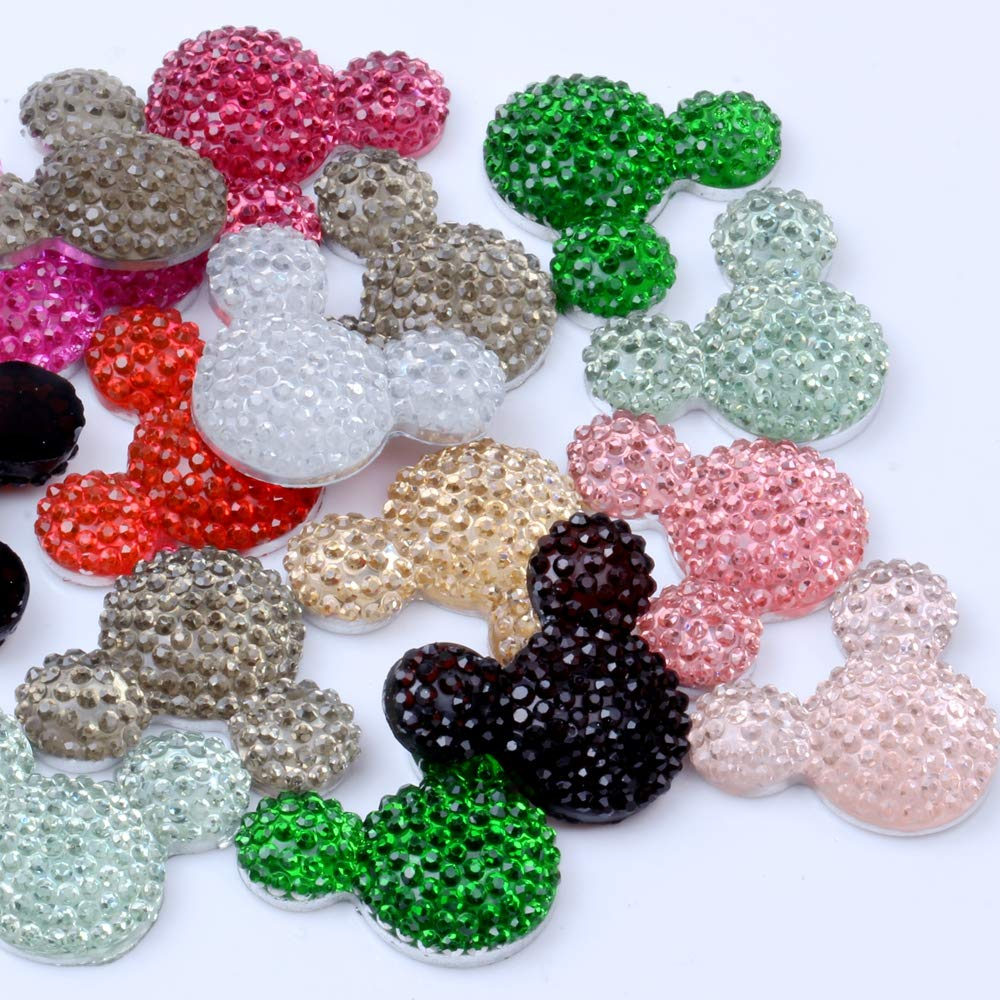 Bow Supply Embellishment Character Halloween Mickey Minnie Ears Set of 2 Planar Resin Brooches Resin Flatback Supplies
