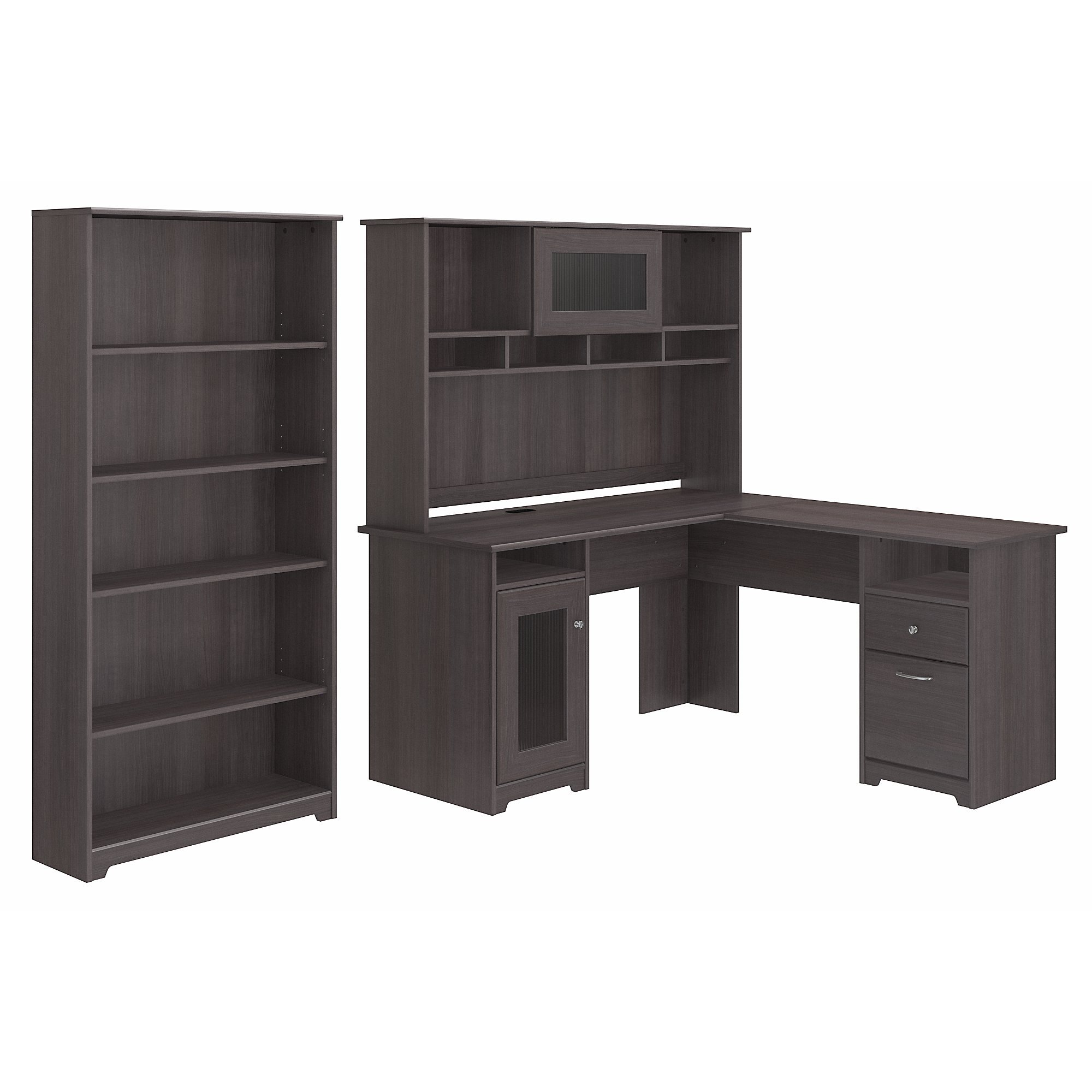 Cabot L Shaped Desk with Hutch and 5 Shelf Bookcase