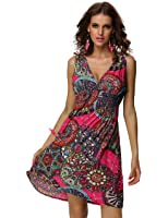 Jinhuanshow Women's Casual Low-cut V-neck Backless Printed Sundresses