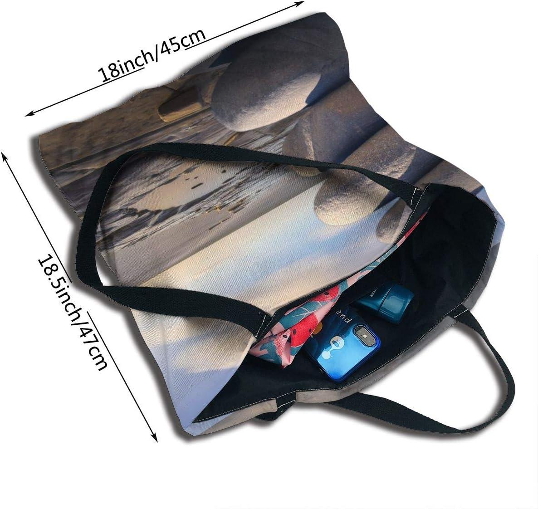 PengMin Nature Beach Boulder Fashion Womens Multi-Pocket Vintage Canvas Handbags Miniature Shoulder Bags Totes Purses Shopping Bags