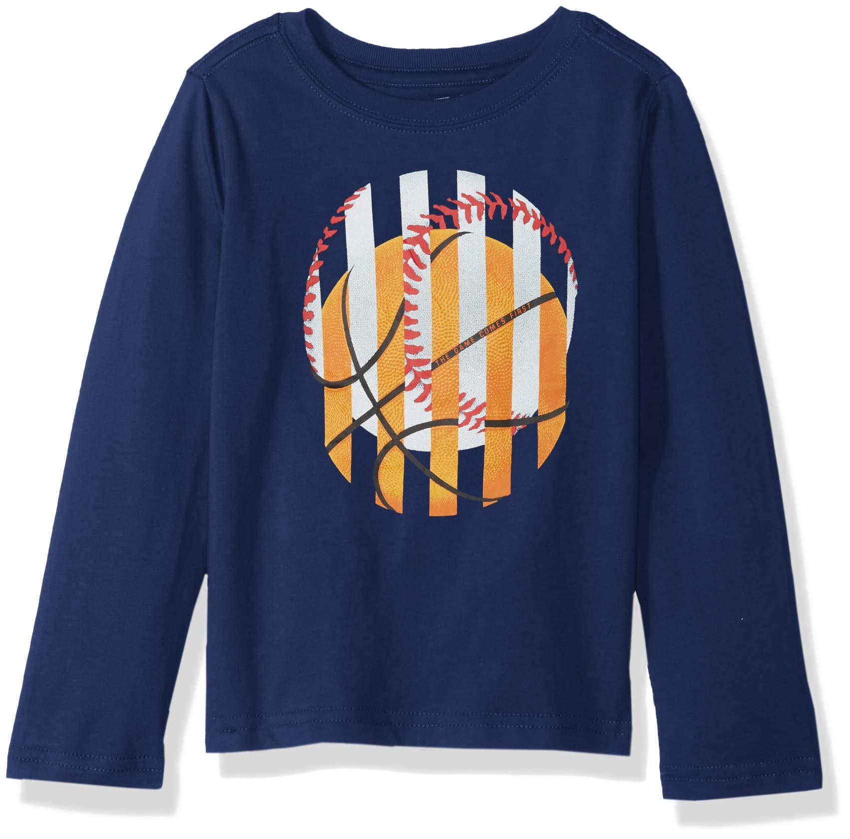 Crazy 8 Boys Long Sleeve Graphic Tee, Navy Sports Balls, S