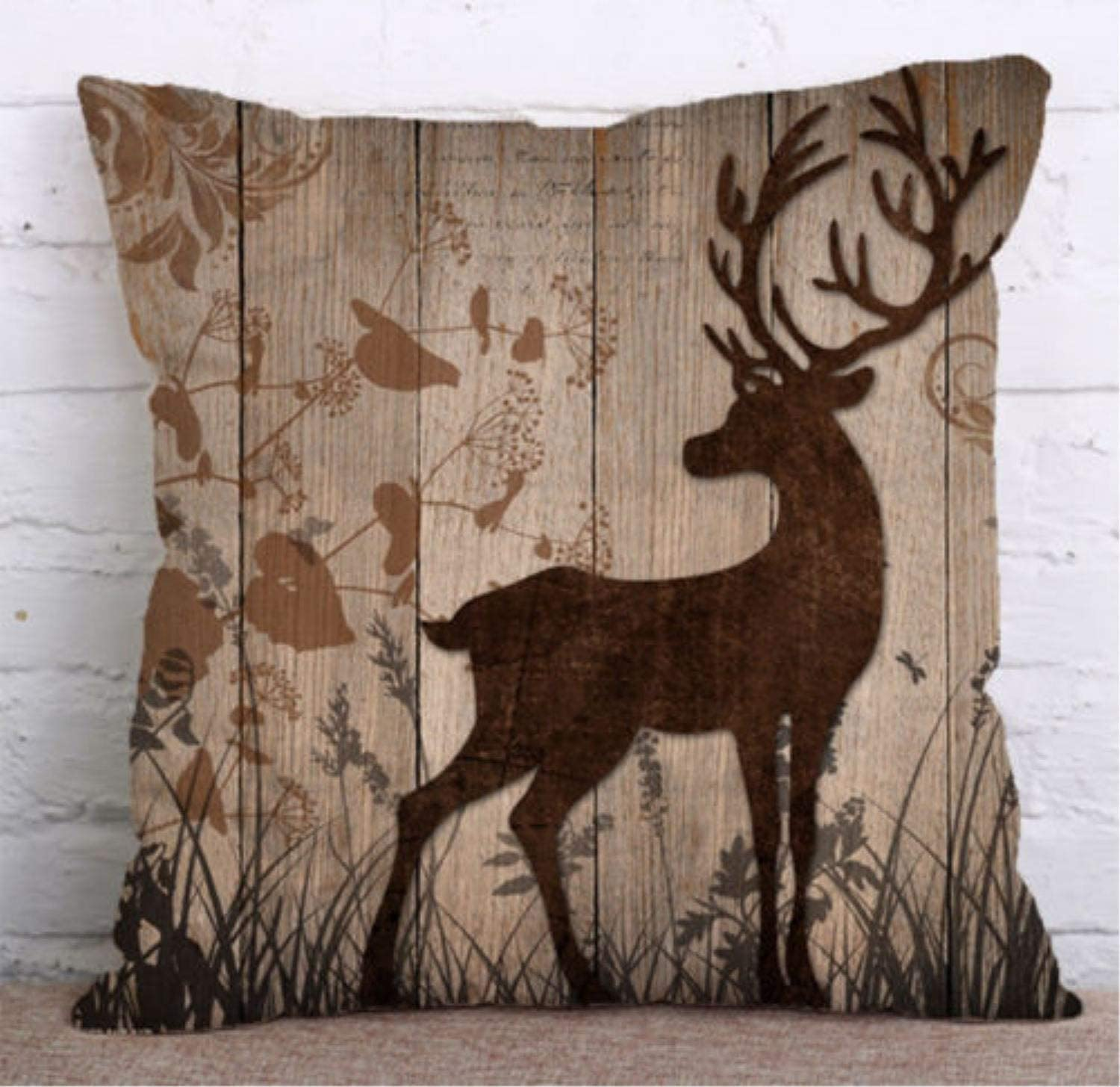 Amazon Com Dkisee Beautiful Brown Deer On Tan Colored Decorative Throw Pillow Cover Deer Hunter S Pillow Cotton Linen Pillowcase Cushion Cover For Sofa Bed Couch 16x16 Inch Home Kitchen