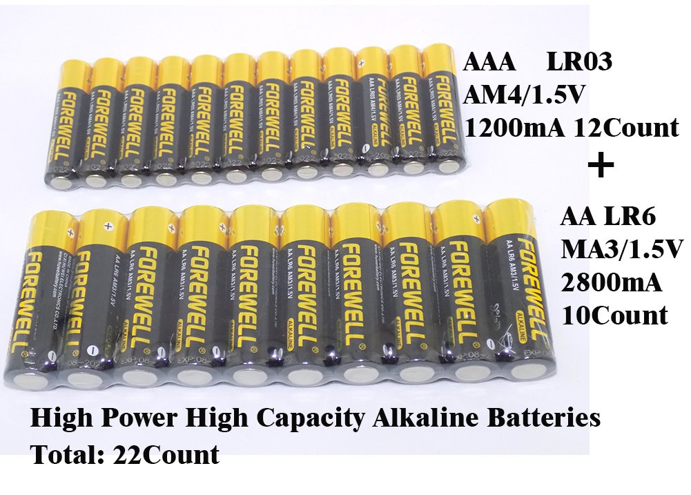 AA AAA High-Power High-Capacity Alkaline Batteries, Especially for High-Power Appliances, 1.5VAA (LR6 AM3 2800mAH) and AAA (LR3 AM4 1200mAH), A Total of 22 Packets (2 Board)Real High Capacity. details