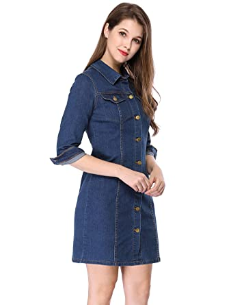 ca29b181fc1 Allegra K Women s 3 4 Sleeve Above Knee Button Down Denim Dress XS Blue