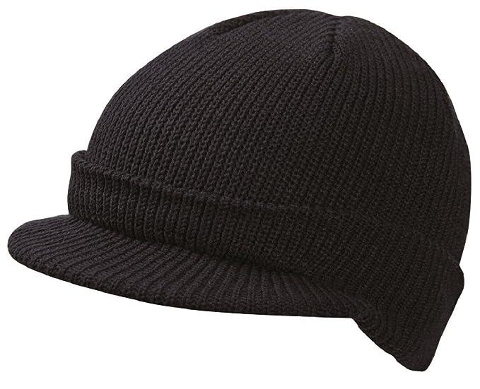 51e288eca3c CLASSIC PEAKED RIBBED BEANIE KNITTED CAP HAT 8 COLOURS (MB7530) (BLACK)   Amazon.co.uk  Clothing