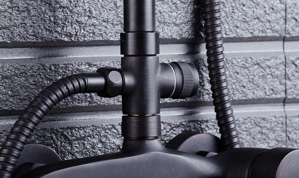 NIHE Schwarz Duschsystem eckig Duscharmatur Duschset Handbrause Duschstange Duschpaneel /Überkopfbrause Dusche Armatur