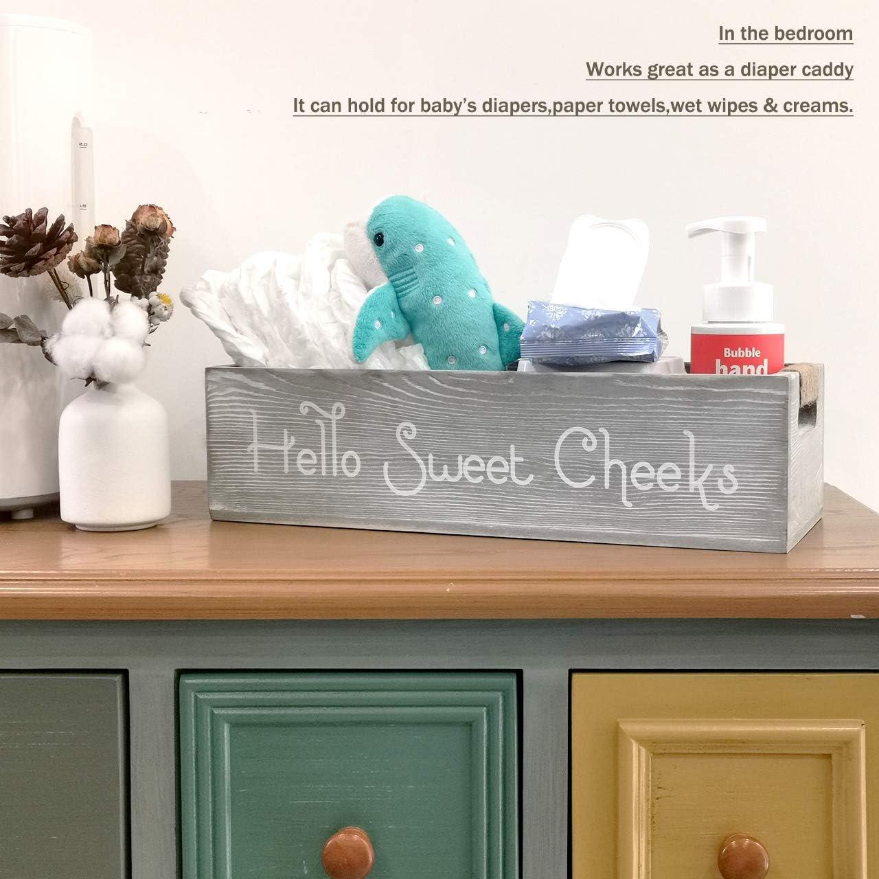 nobrand Farmhouse Rustic Wood Organizer, Bathroom Decor Box or Diaper Organizer, 2 Sides - Funny Box, Hello Sweet Cheeks with Funny Sayings (Grey): Home & Kitchen