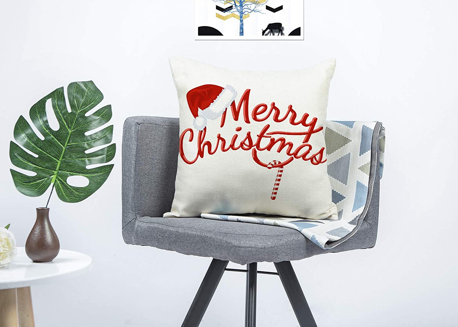 4TH Emotion Red Merry Christmas Pillow Cover Decorative Throw Cushion Case Home Decor 18 x 18 Inch Cotton Linen for Sofa
