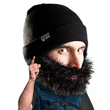 Amazon.com  Beard Head Bushy Biker Beard Beanie - Funny Knit Hat and Fake  Beard Facemask Black  Clothing e6ea4ed2d6a