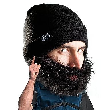 9224dda065355 Amazon.com  Beard Head Bushy Biker Beard Beanie - Funny Knit Hat and Fake  Beard Facemask Black  Clothing
