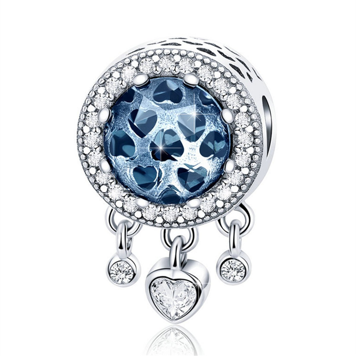 BAMOER 925 Sterling Silver Love Heart Charm with Sparkling Blue Cubic Zirconia for Women Girls Gift Fit for Snake Chain Bracelet Necklace Bright Charm Heart