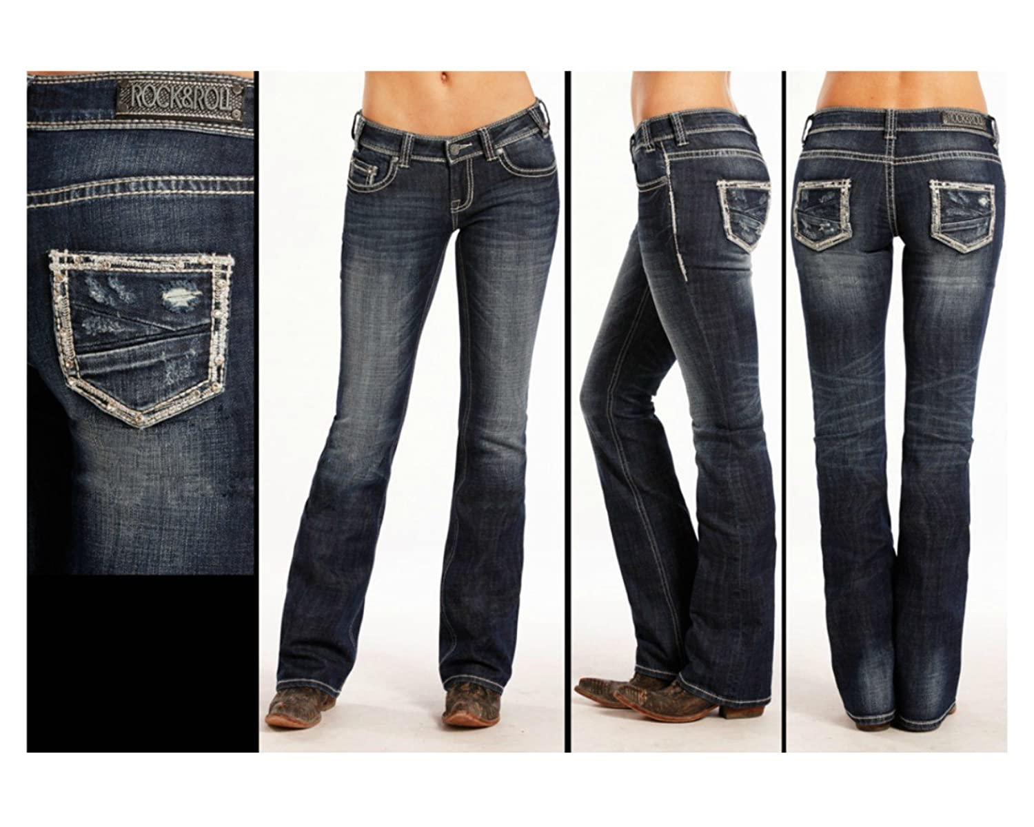 W6-8467 Rock and Roll Cowgirl Rival Bootcut Jean With Rhinestone Detail