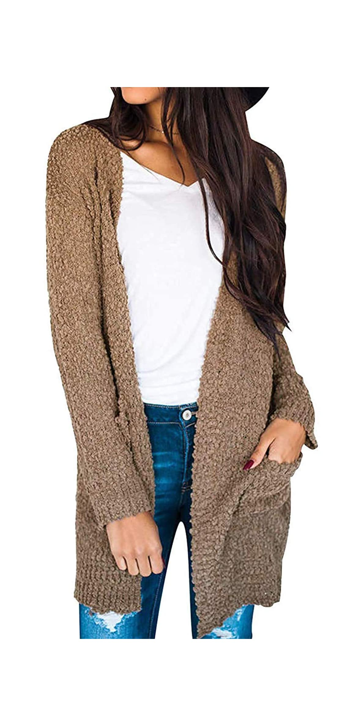 Women's Long Sleeve Soft Chunky Knit Sweater Open Front