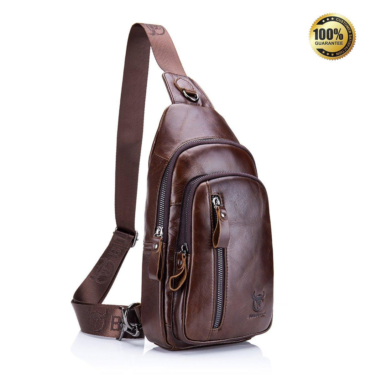Black Genuine Leather Sling Bag,Full Grain Leather Casual Crossbody Shoulder Chest Bag Travel Hiking Vintage Day Pack Backpacks for Men