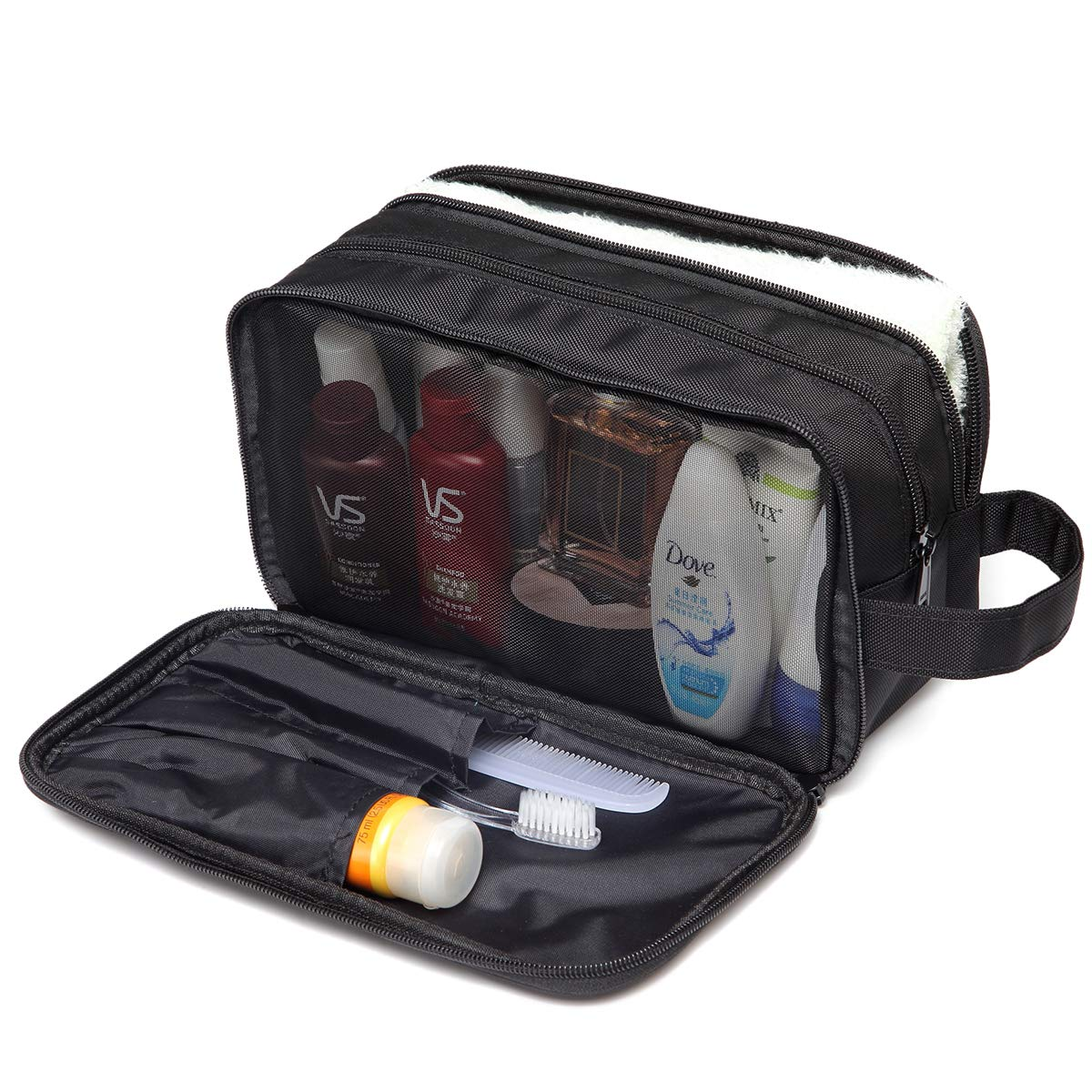 Toiletry Bag for Men and Women,VASCHY Waterproof Dopp Kit Travel Kit Case for Makeup, Cosmetic, Shaving with Separate Compartments Black Travel Accessories
