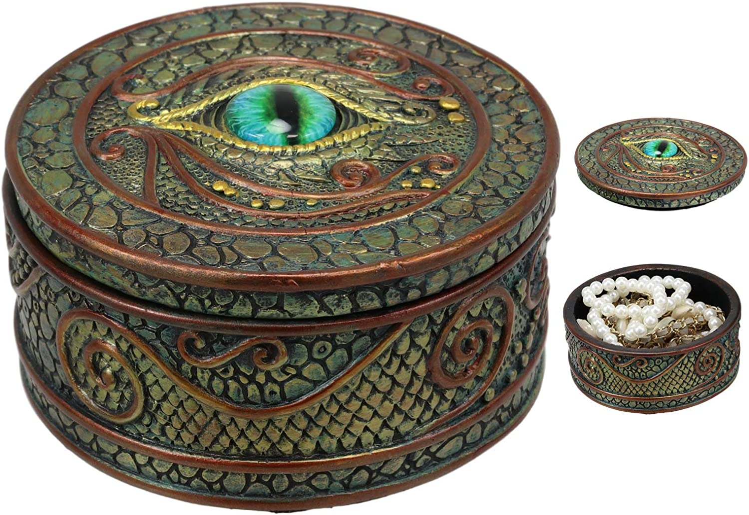 """Ebros Gift Eye Of The Dragon And Scales Decorative Round Trinket Jewelry Box Figurine 4""""Wide Medieval Renaissance Winged Alchemy Magic Fantasy Sauron Dungeons Dragons Decorative Statue"""