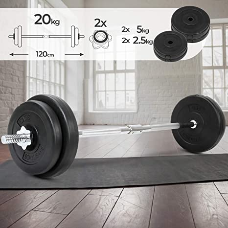 Physionics Barra de musculación de Pesas 20 kg - Barra Larga 120 ...