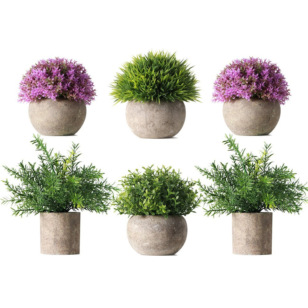 HC STAR Potted Artificial Pant Fake Green Grass with Pot Decorative Lifelike Set of 6 (High-Foot, Green-4 & Purple-2) HCSTAR
