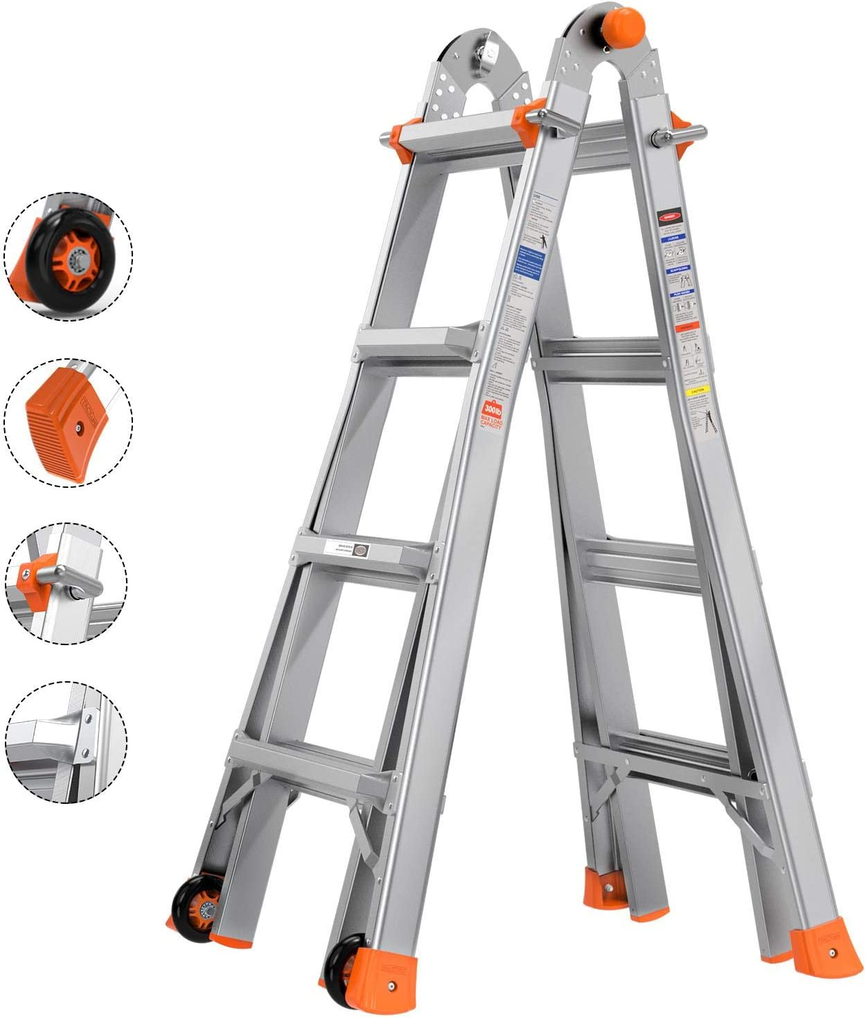 Tacklife 17ft Multi-Position Ladder