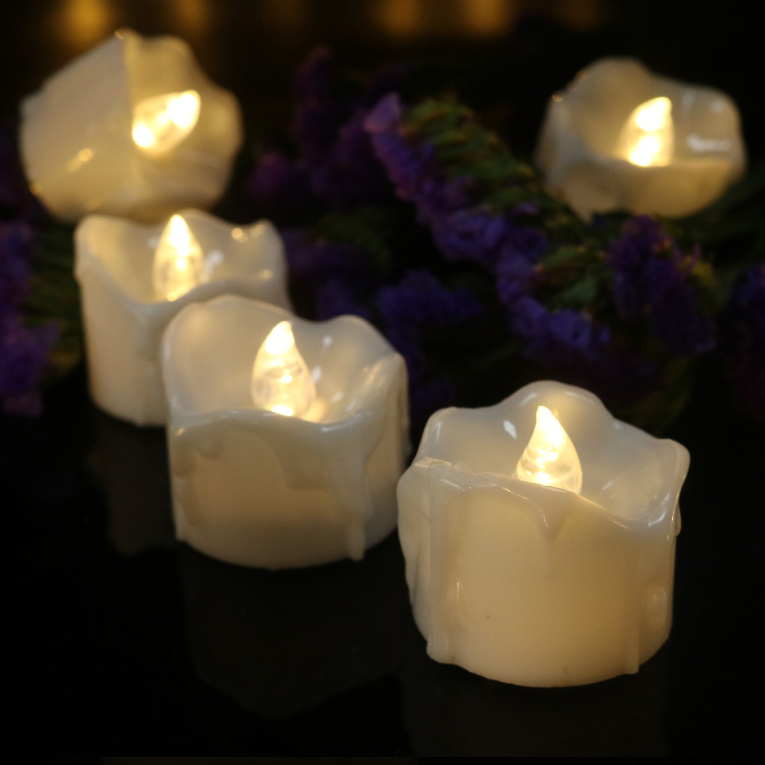 Pack of 96 LED Timer Candles Warm White Flickering Flameless Tealight Electric Votive for Wedding Party Halloween Christmas House Table Wall Garden Decoration