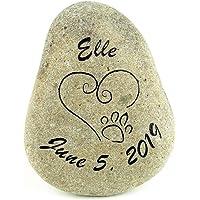 GraphicRocks Sandblast Engraved River Stone Pet Memorial Headstone Grave Marker Dog Cat h med