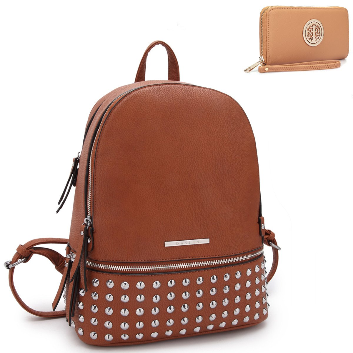 MMK collection Women Fashion Backpack with wallet (2443)~Designer Purse for Women ~Multi Pocket Backpack~ Beautiful Designer Handbag Set(2443/7025) (MA-XL-21-7580-BR 168 BR)