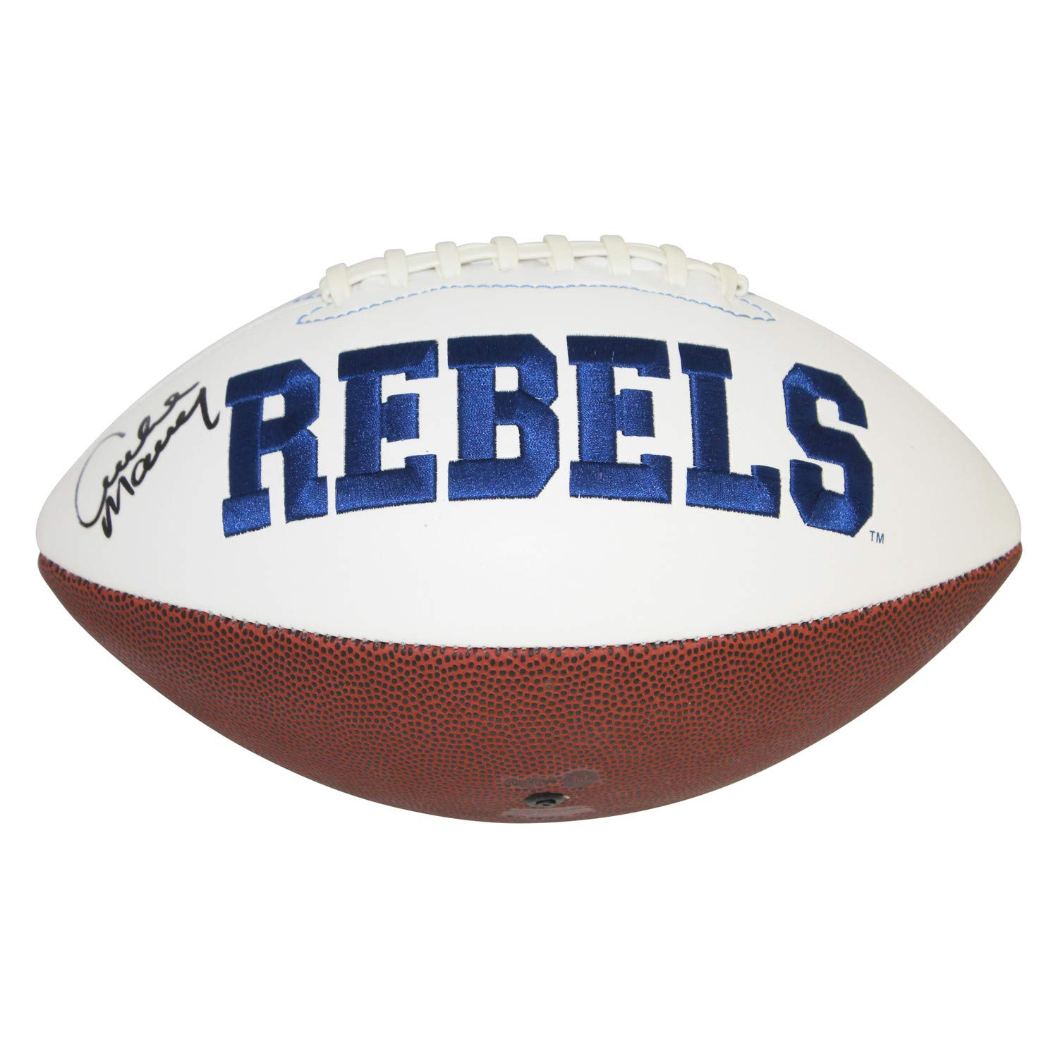 Archie Manning Ole Miss Rebels Autographed Signed White Panel Logo Football - JSA Authentic - Rebels Side Auto