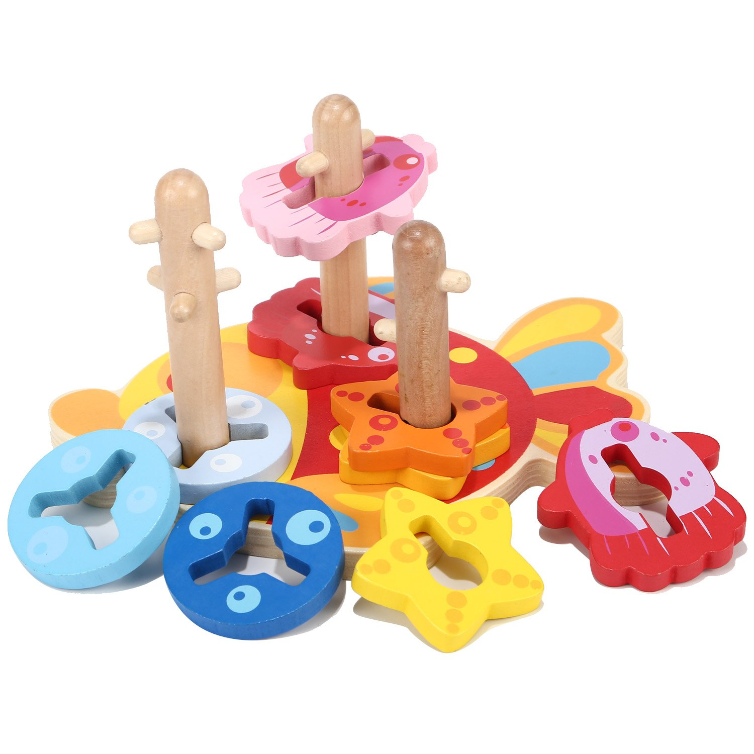 Joqutoys Wooden Sorting and Stacking Blocks Intelligence Fish Board Shape with Color Recognition Puzzle Games Educational Toy for Kids