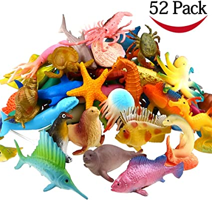 Sea Animal Toy Set Birthday Party Cake Topper Educational Learning Toys 52 Pack