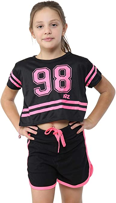 Amazon.com: Kids Girls 98 Crop Top & Shorts Set Sports Jogging Belly Tees  Summer Outfit Sets: Clothing