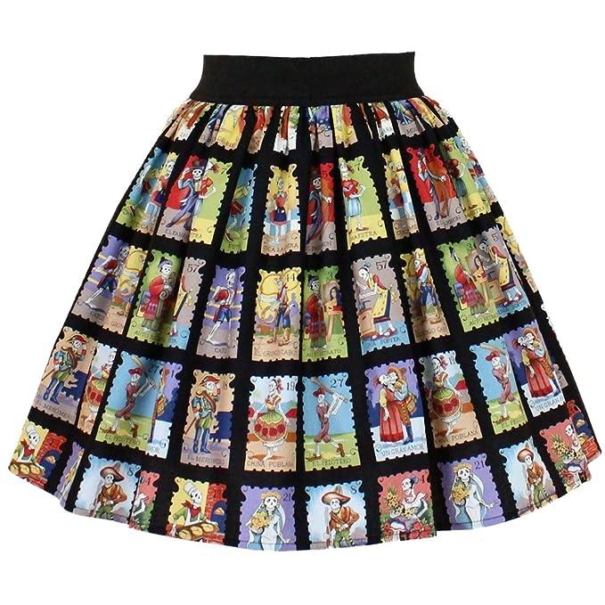5074ed055361 Amazon.com: Women's Hemet Cartas Marcadas Pleated Skirt Black M ...