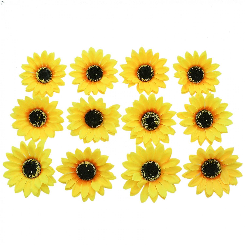 267815f9caafd Buorsa 12 Pack Girls Sweet Hawaiian Emulation Sunflower Duckbill Clip  Flower Hairpin Hair Clip Flower Pin...
