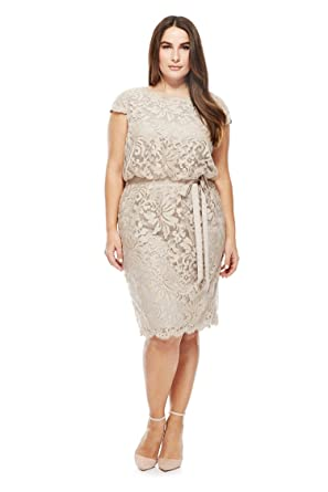 Newdeve Women Ivory Grey Lace Short Mother Dresses Plus Size With