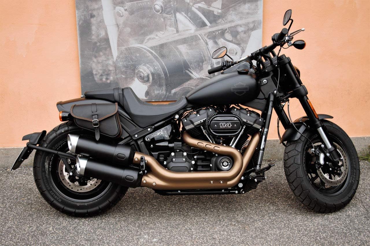 Low Rider et Slim Made in Italy ENDSCUOIO Cuciture Bianche Sac en Cuir c/ôt/é Droit pour Les mod/èles Harley Davidson SOFTAIL 2018-2019 Fat BOB Street
