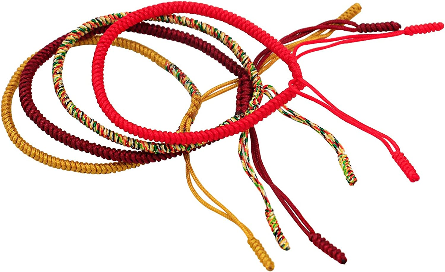 AIIGOU Tibetan Lucky Bracelet Handmade Woven Bracelets Mens Womens Lucky Red String Bracelets for Protection 4PCS