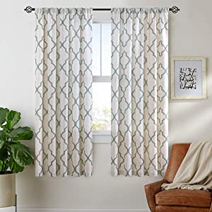 "jinchan Moroccan Print Sage Curtains for Living RoomQuatrefoil Flax Linen Blend Textured Geometry Lattice Rod Pocket Window Treatment Set for Bedroom 50"" W x 63"" L (2 Panels)"