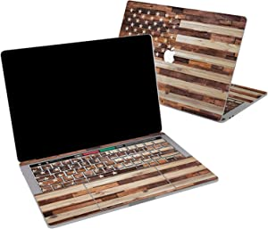 Lex Altern Vinyl Skin for MacBook Air 13 inch Mac Pro 16 15 Retina 12 11 2020 2019 2018 2017 Wooden American Flag Patriotic Stars Stripes Laptop Cover Keyboard Decal Sticker Touch Bar Design Girl